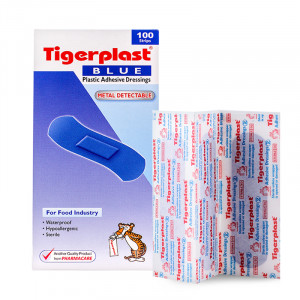 Tigerplast Blue ไทเกอร์พล๊าส บลู พลาสเตอร์ปิดแผลชนิดพลาสติก 100 แผ่น