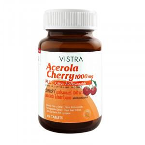 Vistra Acerola Cherry 1000 mg. 45 tablets วิสทร้า อะเซโรลา เชอร์รี่ 1000 มก. 45 เม็ด