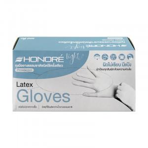 Honore' ถุงมือยาง ผิวไม่เรียบ ชนิดมีแป้ง 100 ชิ้น ไซส์ S  1 กล่อง