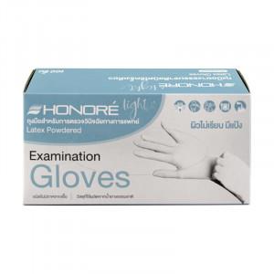 Honore' ถุงมือยาง ผิวไม่เรียบ ชนิดมีแป้ง 100 ชิ้น ไซส์ L 1 กล่อง
